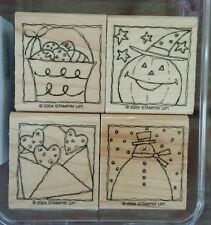 Stampin' Up FESTIVE FOUR Set 4 Rubber Stamps Lot Halloween Valentine Christmas