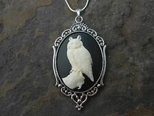 GORGEOUS OWL CAMEO NECKLACE!!! .925 SILV. PLATED CHAIN!!! PERFECTLY DETAILED!!!