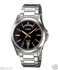 MTP-1370D-1A2 Black Rose Gold Casio Men's Watches Date Display 50m Steel Band