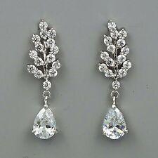 18K White Gold GP Clear Leaf Teardrop CZ Wedding Bridal Drop Dangle Earrings