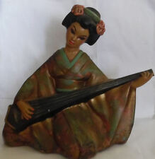 Vintage Japan Beauty Geisha Girl Sitting Figurine Statue w Koto or Zither Figure