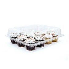 4pcs 12 Cupcake Cake Case Muffin Holder Box Container Carrier Clear Plastic 48