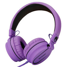 RockPapa Adults Kids Childrens Foldable Headphones Mic Headsets Earphones Purple
