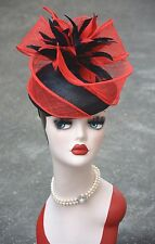 Womens Sinamay Flower Feather Pillbox Hat Derby Fascinator A327