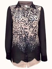 New-Ladies Chiffon Shirt-Black and Beige Animal Print Blouse-Long Sleeves-14-16