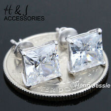 925 STERLING SILVER 8MM CLEAR SQUARE CUT LAB DIAMOND SCREW BACK STUD EARRING*E93