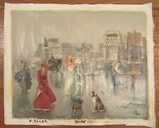 Vintage signed oil painting on canvas Paris street scene signed Soler 24x30