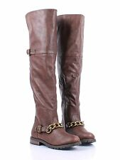 BAMBOO Two Tone Chain Sexy Faux Leather Side Zip Open Womens Over the Knee Boots