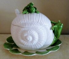 1975 FITZ & FLOYD SNAIL SOUP TUREEN WITH LADLE AND UNDER PLATE