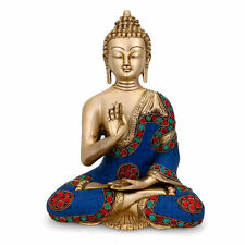 """11"""" Abhaya Buddha Idol Brass Tibet Turquoise Handcarved Blessing figurine statue"""