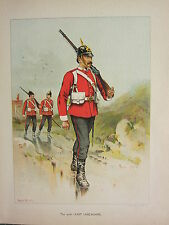 1905 ANTIQUE MILITARY PRINT ~ 30th EAST LANCASHIRE ~ BRITISH IMPERIAL FORCES