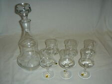 Krosno Crystal Decanter Set - with 6 Wine / Cordial Glasses - Grape Leaf Pattern