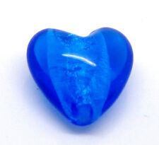 5 x ROYAL BLUE HEART LAMPWORK FOIL GLASS BEADS - 20mm - SAME DAY FREE POSTAGE
