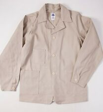 New $385 POST O'ALLS Beige Cotton Duck Canvas 'Carlos' Jacket S Small Overalls