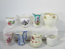 Pitchers Creamers Mixed Lot of 8 Small Lefton Nippon Cow Flower Wedding SHowers