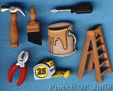 DO IT YOURSELF DIY Builder Tools Paint Ladder Novelty Dress It Up Craft Buttons