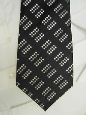 MARKS & SPENCER 2786/865 PADDED BLACK WHITE GREY DOT 4 INCH SILK NECK TIE