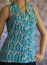 NWT Violet & Claire Hidden Button Front V Neck Blouse Shirt Sz S Blue w/ Pleats