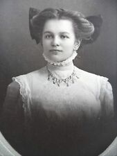 Antique B&W Photo Woman Wonderful Hair Bow Blouse High Collar Bib Necklace 1908