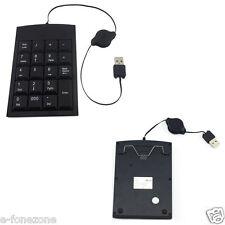 USB PORTABLE NUMERIC KEYPAD NUMBER KEY PAD RETRACTABLE USB CABLE