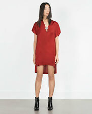 ZARA Red Metallic Appliqué Tunic Dress, size Small