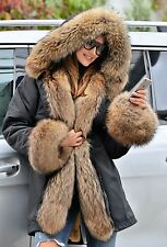 NEW 2017 MILITARY PARKA COAT HOOD FOX FUR CLAS SABLE MINK CHINCHILLA JACKET VEST
