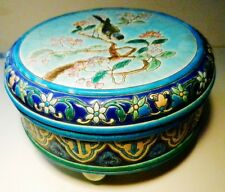 1890 Longwy FRANCE D575 Emaux BIRD Majolica Crackle Footed Bowl & Lid~1552