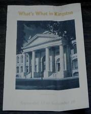 What's What In Kingston, Canada, Vintage Informational Tour Pamphlet
