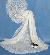 "Baby Lace Shawl Knitting Pattern 3ply 50x50""   327"