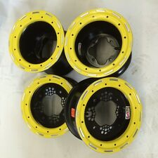 "DWT Champion in Box 10"" Front 9"" Rear Beadlock Rims Yellow Suzuki LTR450 LTZ400"