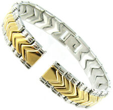10mm Hirsch Two Tone Silver and Gold Metal Center Clasp Ladies Watch Band
