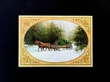 Vintage Unused Xmas Greeting Card Bringing Home the Tree in Snow on a Wagon
