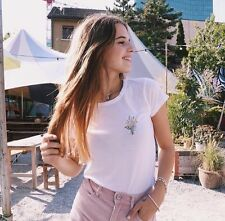 Sold Out! brandy melville white cropped MASON BOUQUET EMBROIDERY TOP sz S/M