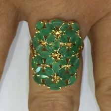 Natural Emerald Cluster Ring in 14k Solid Yellow Gold 4.86GSize 8.25Not Enhanced