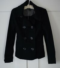 H&M Black Double Breasted Cotton Peacoat Sz 4 Small Women's Button Down Jacket