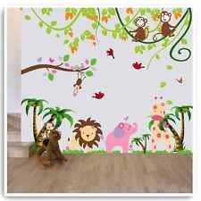 Animal Wall Stickers Monkey Lion Jungle Zoo Elephant Nursery Baby Room Decals