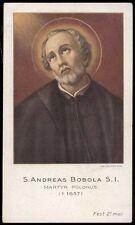 """santino-holy card""""S.ANDREA BOBOLA M. IN POLONIA 2"""