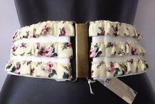 NEW BCBGeneration BCBG BELT SIZE SMALL / MEDIUM FLORAL BELT WHITE WIDE WAIST