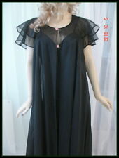 Vintage NWT Val Mode Black Chiffon Nightgown Robe Slip Peignoir Gown Roses S