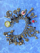 BP In Wonderland Charm Bracelet: Alice Mirror Chess Pieces Mad Hatter Rabbit ++