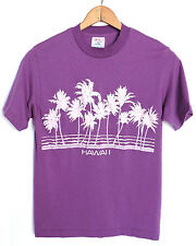 RARE Vtg 80s Hawaii Thin Soft 50/50 Purple T-shirt S Tropical Palm Surf Beach