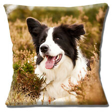 "BORDER COLLIE ADULT BLACK & WHITE OUTDOORS IN HEATHER 16"" Pillow Cushion Cover"