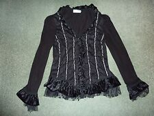Almost Famous Womens Black Top size 8 - 10 with black lace and grey ribbon trim.