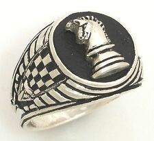 Knights Chess piece Mens Signet ring II Sterling Silver