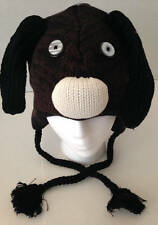 Winter Sweater Knit Animal Hat Brown Puppy Dog Fleece Lined Child/Tween Size