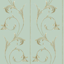 "Robins Egg Blue 10"" Wide Panels With Golden Scroll Wallpaper YV8981"