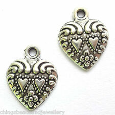 20 Tibetan Silver 12x15mm Heart Charms Findings