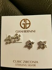 Giani Bernini 2 Piece Cubic Zirconia Floral Inspired Sterling Silver Earrings