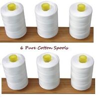 New White 6 x Set Pure100% Cotton Sewing Machine Thread 800M Large Spools Reels