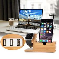 Bois Bambou Chargeurs Dock Station Support Stand USB Pr Apple Watch iPhone 6s/7